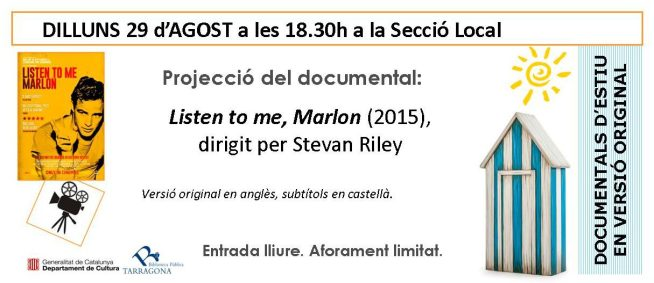 flyer documental agost LISTEN TO ME MARLON